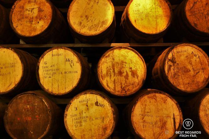 Rum aging in barrels, Saga du Rhum, Reunion Island, France