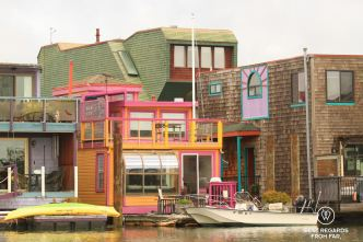 Floating houses, SUP in Sausalito, San Francisco, California, USA