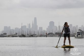 SUP in Sausalito with the skyline of San Francisco, California, USA