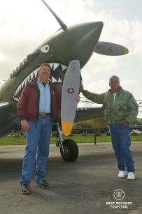 Our two pilots and the KittyHawk, Vintage Aircraft, San Francisco, USA