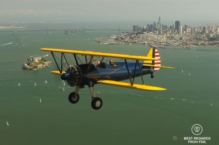 Flying the Boeing PT-17 Stearman over the San Francisco Bay, California, USA