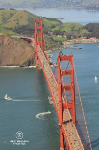 View on the Golden Gate Bridge from the PT-17 Stearman, Vintage Aircraft, San Francisco, USA