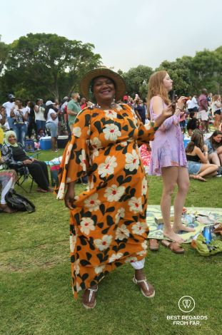 Mixed crowd enjoying the concert on a summer night, Kirstenbosch Botanical Garden, Cape Town, South Africa