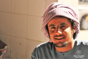 Close-up of a man, Sinaw souq, Oman