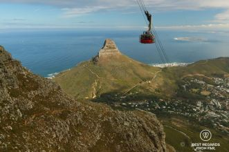 View from halfway up Table Mountain on Lion's Head, Cape Town, South Africa