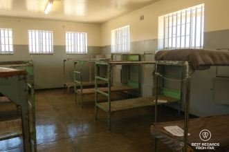A shared cell on Robben Island, Cape Town