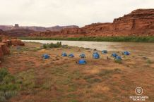 Camp with tents along the Colorado River during the Cataract Canyon rafting trip with Western River Expeditions.