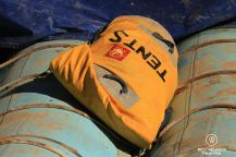 Large waterproof bag on the raft of Western River Expeditions while rafting Cataract Canyon, Colorado River, Utah, USA.