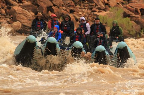 Full raft going down the rapids of the Cataract Canyon, Western River Expeditions, Colorado River, USA.