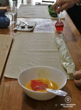 Rolling the dough, Spanakopita, The Greek Kitchen Athens, cooking class, Greece
