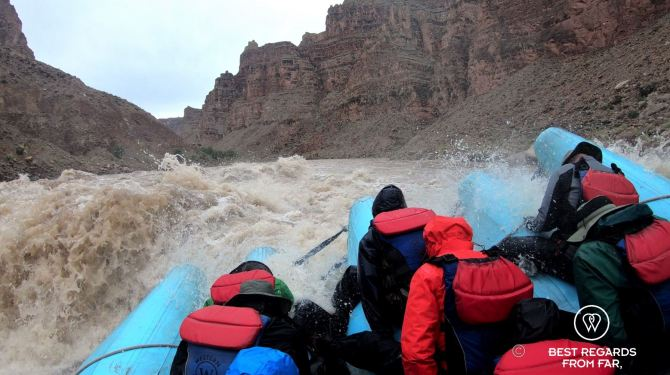 View from raft, Cataract Canyon, Western River Expeditions, Utah, USA 1