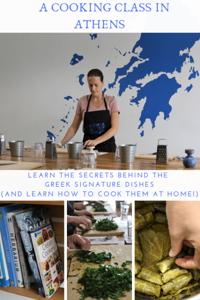 Woman cooking, blue tekst on white, cooking books and spinach being chopped.