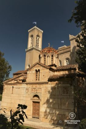 The Metropolitan Orthodox Cathedral in the sun with blue skies, Athens, Greece