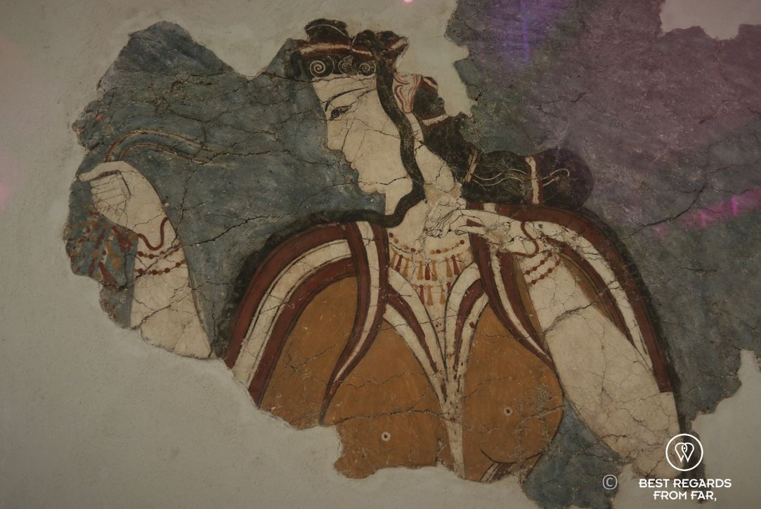 The Mycenean lady wall painting from the acropolis of Mycenae, Archaeological Museum, Athens, Greece