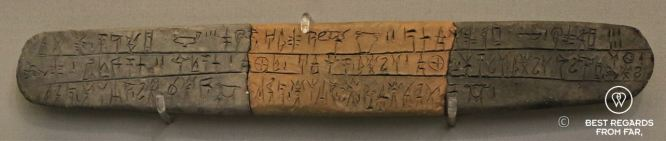 The Linear B from the 13th century BC, Archaeological Museum, Athens, Greece