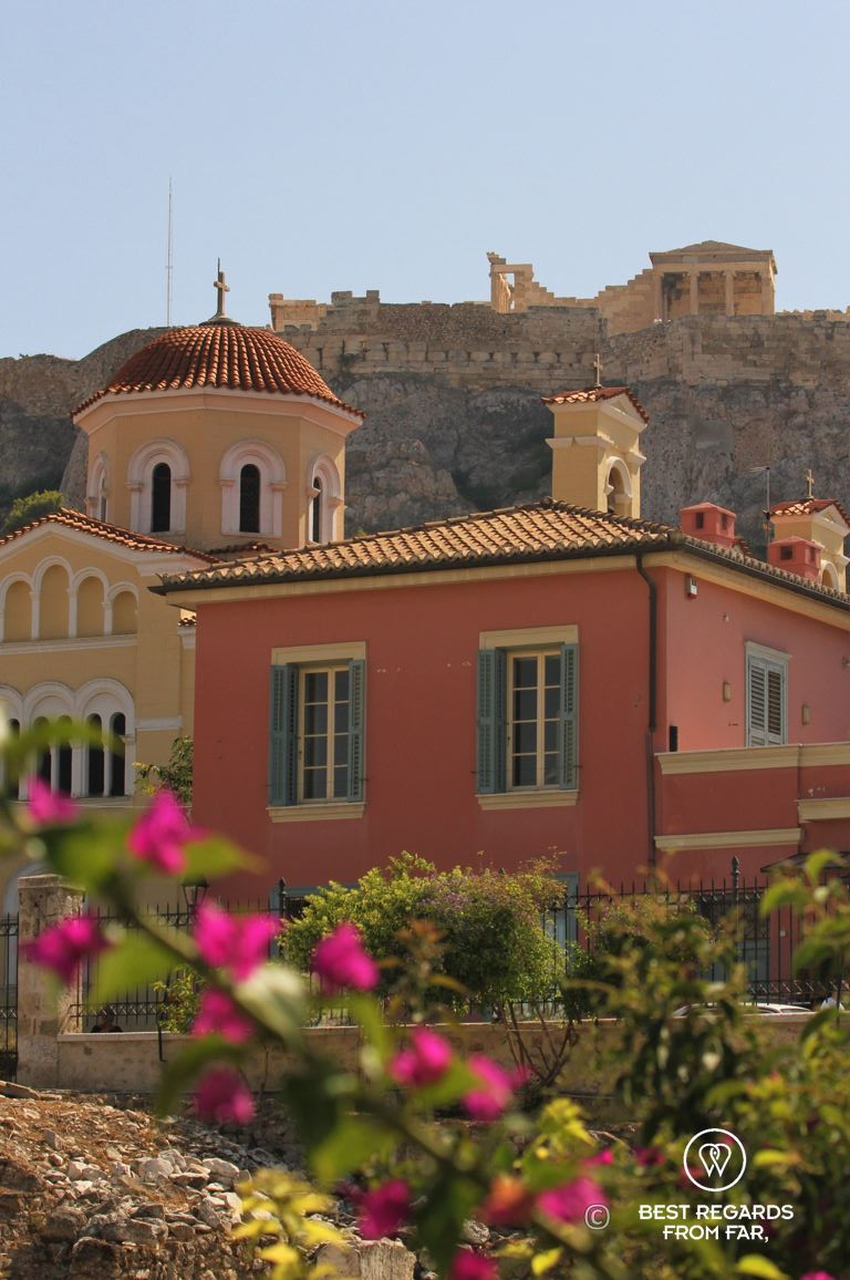 Acropolis and a greek church in the foreground, Athens, Greece.