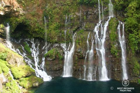 Waterfalls of Anse des Cascades in Reunion Island, France