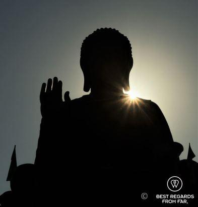 Big Buddha of Lantau Island in the afternoon sun, Hong Kong