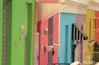 Row of green, pink, blue, purple, yellow and orange facades of the typical Bo Kaap architecture, Cape Town, South Africa