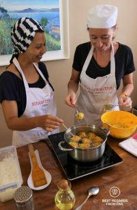 Deep frying the Cape Malay dhaltjies, Bo-Kaap cooking tour, Cape Town, South Africa