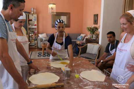 Preparing rootis Bo-Kaap cooking tour, Cape Town, South Africa