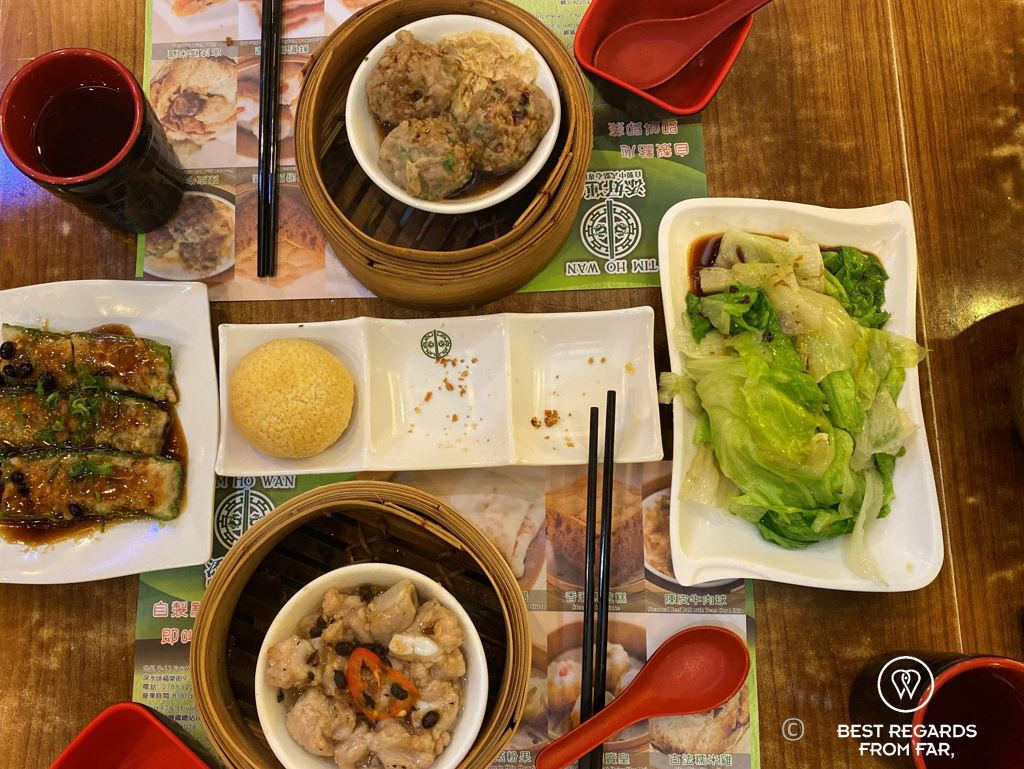 Dim sum dinner in a star restaurant, Tim Ho Wan, Kowloon, Hong Kong