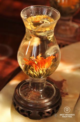 Tea blooming in transperant tea glass, Li-Ngong tea shop, Lantau Island, Hong Kong.