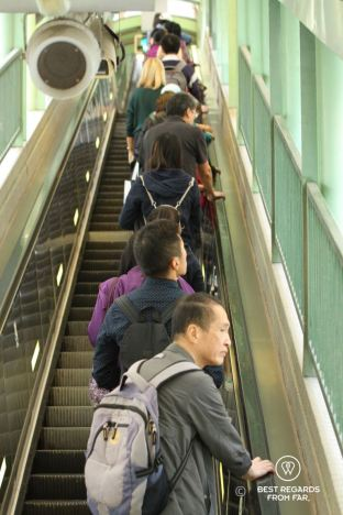 Hong Kongers communting using the mid-levels escalators on Hong Kong Island