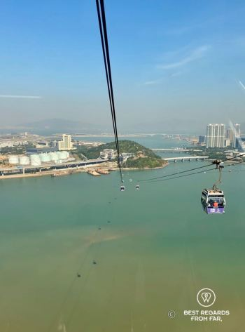 Cable way above water, blue skies and blue water.