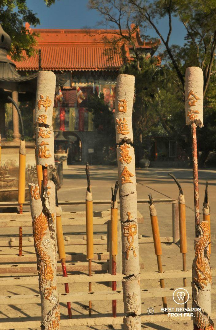 Large incense burning in front of a monastery, Lantau Island, Hong Kong.