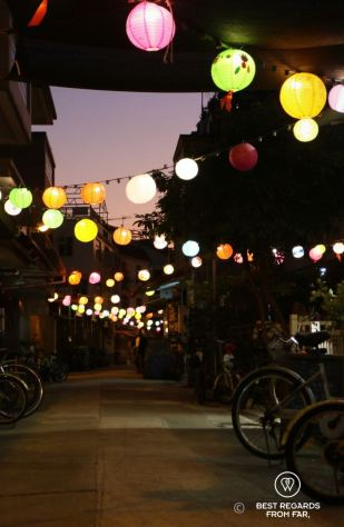 Colourful street lights, Tai O fishing village, Lantau Island, Hong Kong