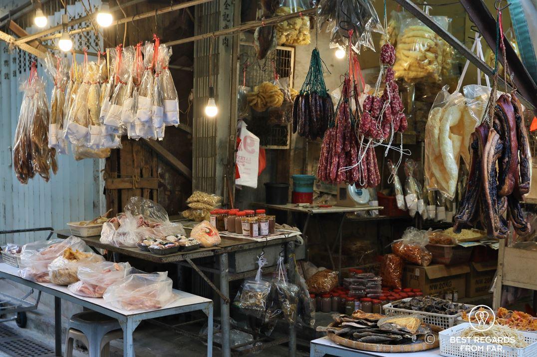 Dried fish and meat, Tai O fishing village, Lantau Island, Hong Kong.