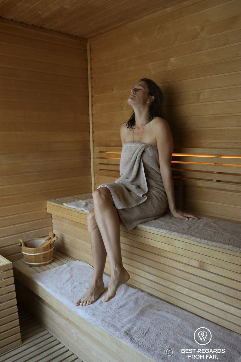 Guest relaxing in the sauna of the spa at the Murray luxurious hotel in Hong Kong