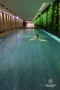 Guest swimming in the indoor pool of the Murray luxurious hotel in Hong Kong