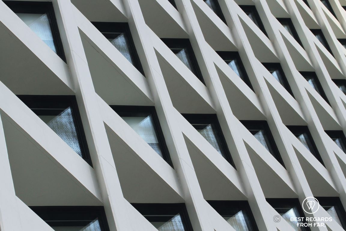 Architecture of the skewed windows of the landmark Murray luxurious hotel in Hong Kong
