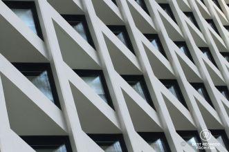 Detail of the windows, The Murray Hotel, Hong Kong Island