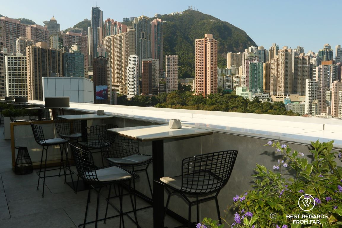 Popinjays stylish cocktail rooftop bar overlooking Victoria Peak and Hong Kong Island at The Murray