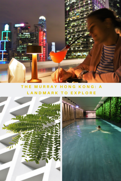 Patron at stylish rooftop cocktail bar at night, swimming pool and architecture of The Murray hotel and landmark in Hong Kong