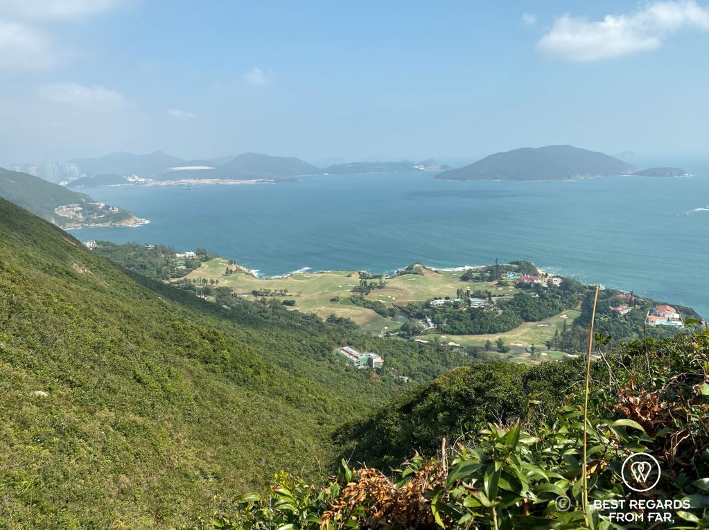 View on Sheik O Beach and the islands and mountains from the Dragon's Back hike in Hong Kong