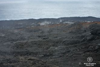 The smoking hot road of lava