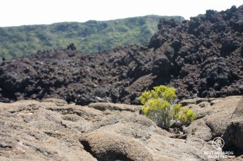 Three layers of volcanic stone in the old crater of the Furnace Peak on Reunion Island
