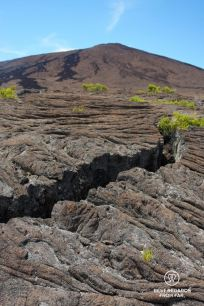 The summit of Furnace Peak on Reunion Island with a crack in the basalt leading to it in this lunar landscape