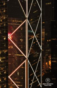 The Bank of China Tower at night, Hong Kong