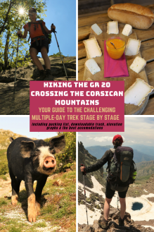 Pin showing hikers, cold cuts and wild pigs referring to the GR20 stage by stage guide, Corsica