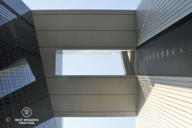 The architecture of the HKSAR Government Headquarters modern arch in Hong Kong