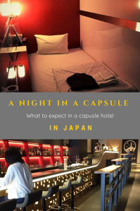 Capsule hotel with a bed and a light and a woman siting at an emtpy bar of a capsule hotel in Japan.