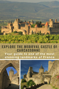 Medieval castle of Carcassonne in the vineyard, blue skies and morning sun.