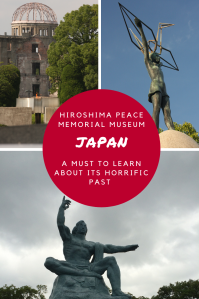 Red circle with white text over three photos commemorating atomic bom victims in Japan.