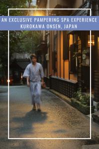 Japanese man in a kimono walking on wet asphalt along traditional Japanese houses in Kurokawa,