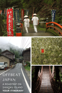 Several images depicting Japanese pilgrims with white clotes, stone buddhas, a vine bridge and a mountain road with traditional houses in Japan.